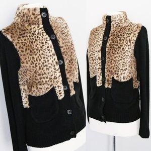 Soft Leopard Faux Fur Black Sweater Knit Cardigan